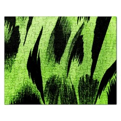 Green Tiger Background Fabric Animal Motifs Rectangular Jigsaw Puzzl