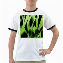 Green Tiger Background Fabric Animal Motifs Ringer T Shirts