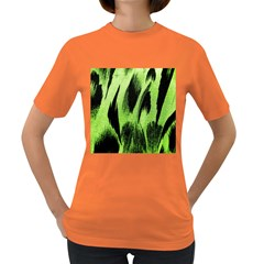 Green Tiger Background Fabric Animal Motifs Women s Dark T Shirt