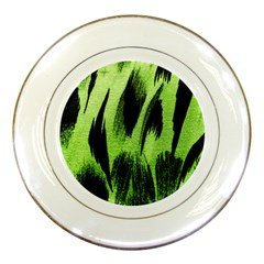 Green Tiger Background Fabric Animal Motifs Porcelain Plates