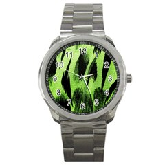 Green Tiger Background Fabric Animal Motifs Sport Metal Watch