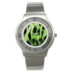 Green Tiger Background Fabric Animal Motifs Stainless Steel Watch