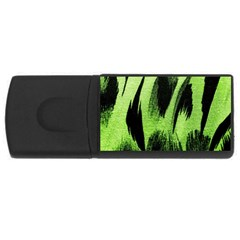 Green Tiger Background Fabric Animal Motifs USB Flash Drive Rectangular (4 GB)