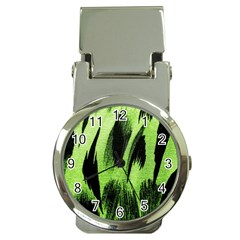 Green Tiger Background Fabric Animal Motifs Money Clip Watches