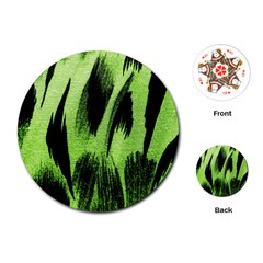 Green Tiger Background Fabric Animal Motifs Playing Cards (round)