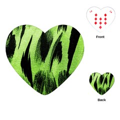 Green Tiger Background Fabric Animal Motifs Playing Cards (heart)