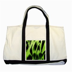 Green Tiger Background Fabric Animal Motifs Two Tone Tote Bag