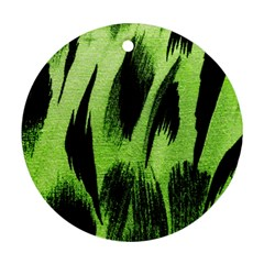 Green Tiger Background Fabric Animal Motifs Round Ornament (Two Sides)