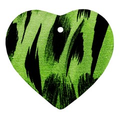 Green Tiger Background Fabric Animal Motifs Heart Ornament (two Sides)