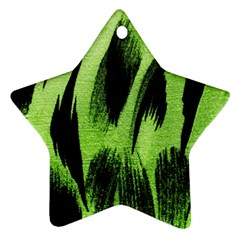 Green Tiger Background Fabric Animal Motifs Star Ornament (Two Sides)