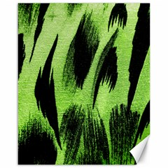 Green Tiger Background Fabric Animal Motifs Canvas 16  X 20