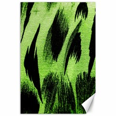 Green Tiger Background Fabric Animal Motifs Canvas 24  X 36