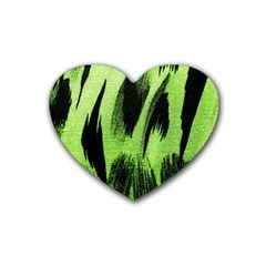 Green Tiger Background Fabric Animal Motifs Heart Coaster (4 pack)