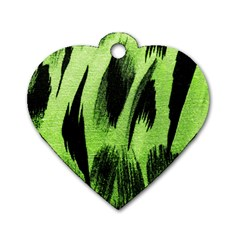 Green Tiger Background Fabric Animal Motifs Dog Tag Heart (One Side)