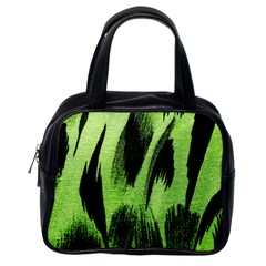 Green Tiger Background Fabric Animal Motifs Classic Handbags (one Side)