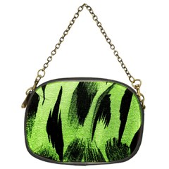 Green Tiger Background Fabric Animal Motifs Chain Purses (One Side)