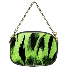 Green Tiger Background Fabric Animal Motifs Chain Purses (two Sides)