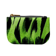 Green Tiger Background Fabric Animal Motifs Mini Coin Purses