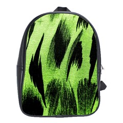 Green Tiger Background Fabric Animal Motifs School Bags(large)