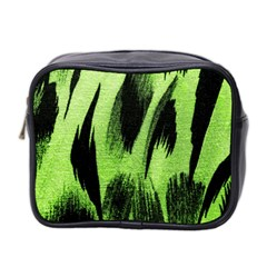 Green Tiger Background Fabric Animal Motifs Mini Toiletries Bag 2 Side