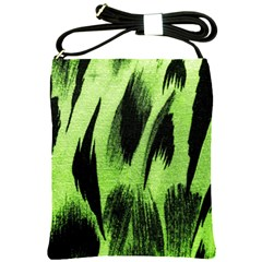 Green Tiger Background Fabric Animal Motifs Shoulder Sling Bags
