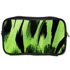 Green Tiger Background Fabric Animal Motifs Toiletries Bags 2 Side