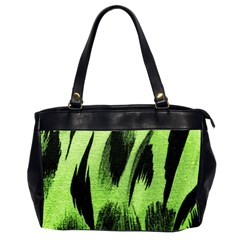 Green Tiger Background Fabric Animal Motifs Office Handbags (2 Sides)