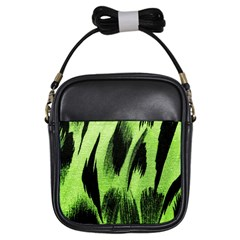 Green Tiger Background Fabric Animal Motifs Girls Sling Bags