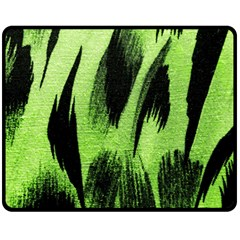 Green Tiger Background Fabric Animal Motifs Fleece Blanket (medium)