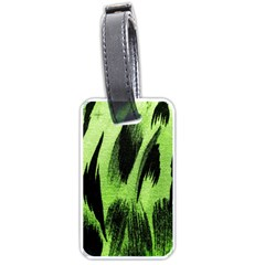 Green Tiger Background Fabric Animal Motifs Luggage Tags (one Side)