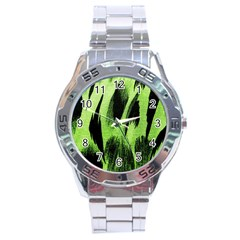 Green Tiger Background Fabric Animal Motifs Stainless Steel Analogue Watch