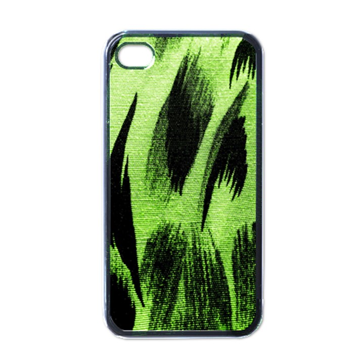 Green Tiger Background Fabric Animal Motifs Apple iPhone 4 Case (Black)