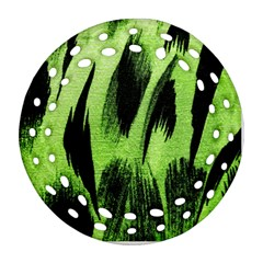 Green Tiger Background Fabric Animal Motifs Round Filigree Ornament (two Sides)