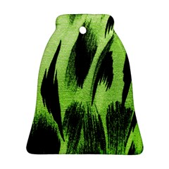 Green Tiger Background Fabric Animal Motifs Bell Ornament (Two Sides)