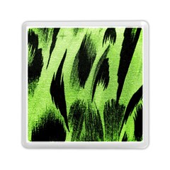 Green Tiger Background Fabric Animal Motifs Memory Card Reader (square)