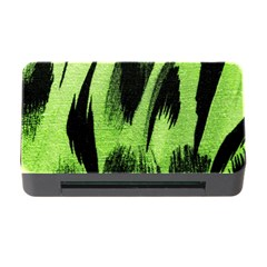 Green Tiger Background Fabric Animal Motifs Memory Card Reader With Cf