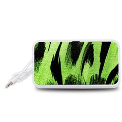 Green Tiger Background Fabric Animal Motifs Portable Speaker (White)