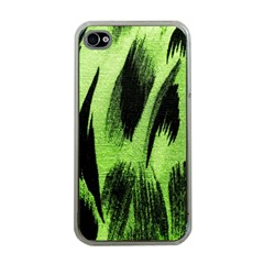 Green Tiger Background Fabric Animal Motifs Apple Iphone 4 Case (clear)