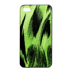 Green Tiger Background Fabric Animal Motifs Apple Iphone 4/4s Seamless Case (black)