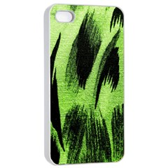 Green Tiger Background Fabric Animal Motifs Apple Iphone 4/4s Seamless Case (white)