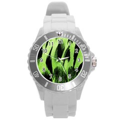 Green Tiger Background Fabric Animal Motifs Round Plastic Sport Watch (l)