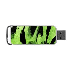 Green Tiger Background Fabric Animal Motifs Portable Usb Flash (one Side)