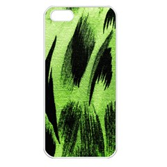 Green Tiger Background Fabric Animal Motifs Apple Iphone 5 Seamless Case (white)