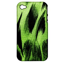 Green Tiger Background Fabric Animal Motifs Apple iPhone 4/4S Hardshell Case (PC+Silicone)