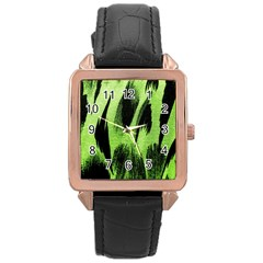 Green Tiger Background Fabric Animal Motifs Rose Gold Leather Watch