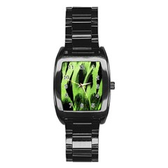 Green Tiger Background Fabric Animal Motifs Stainless Steel Barrel Watch