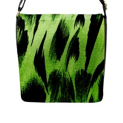 Green Tiger Background Fabric Animal Motifs Flap Messenger Bag (L)