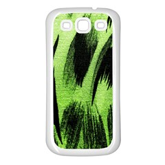 Green Tiger Background Fabric Animal Motifs Samsung Galaxy S3 Back Case (white)