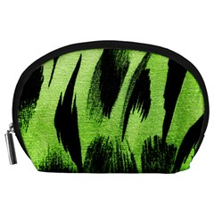 Green Tiger Background Fabric Animal Motifs Accessory Pouches (Large)