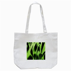 Green Tiger Background Fabric Animal Motifs Tote Bag (White)
